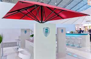 commercial patio umbrellas at the r t exhibit in stuttgart. Black Bedroom Furniture Sets. Home Design Ideas